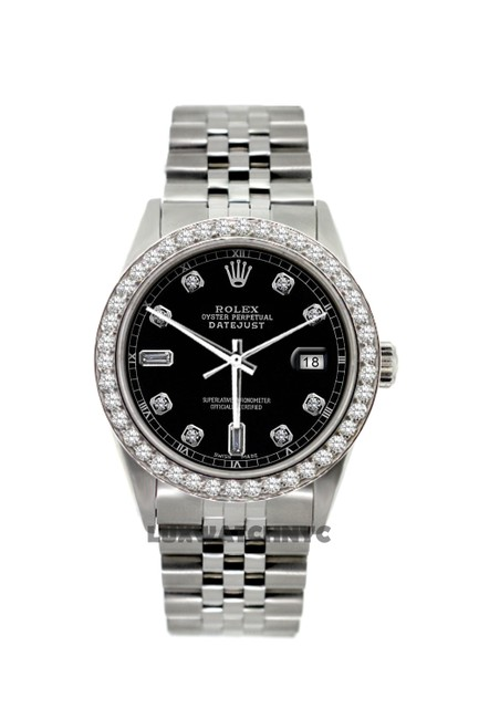 Rolex Black Dial 36mm Datejust S/S 2.3ct with Appraisal Watch Rolex Black Dial 36mm Datejust S/S 2.3ct with Appraisal Watch Image 1