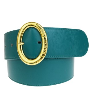 Dior Authentic Christian Dior Logo Belt Leather Green Gold-Tone