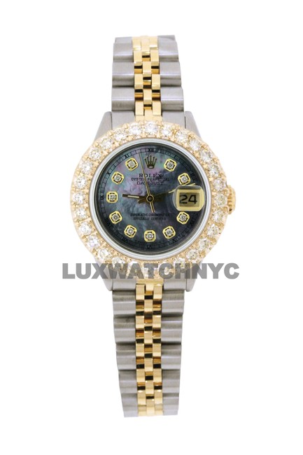 Rolex Black Mop Dial 2.5ct Ladies 26mm Datejust Gold & Stainless with Appraisal Watch Rolex Black Mop Dial 2.5ct Ladies 26mm Datejust Gold & Stainless with Appraisal Watch Image 1