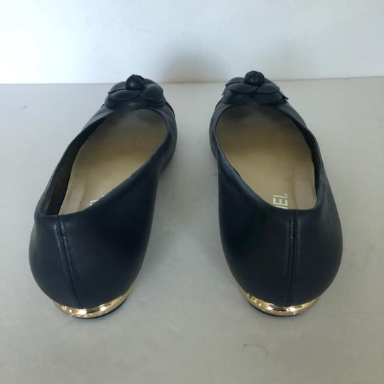 Chanel Ballet Cammelia Leather Navy Blue Flats Image 1