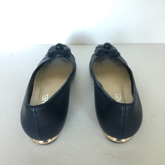 Chanel Ballet Cammelia Leather Navy Blue Flats Image 2