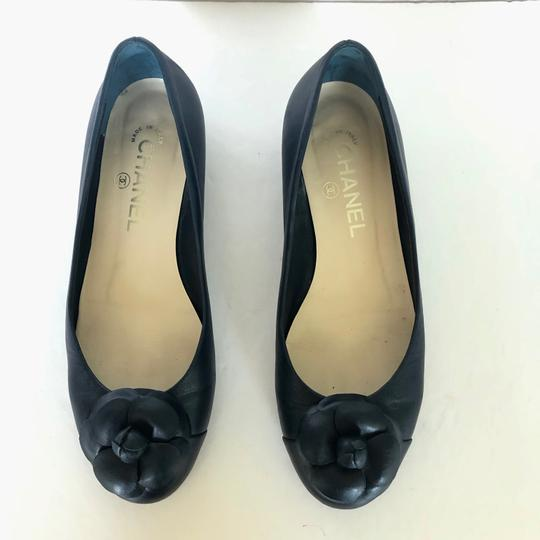Chanel Ballet Cammelia Leather Navy Blue Flats Image 3