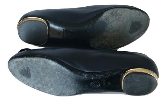Chanel Ballet Cammelia Leather Navy Blue Flats Image 5