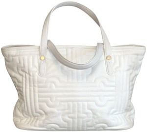 BVLGARI Leather Italy Quilted Satchel in White