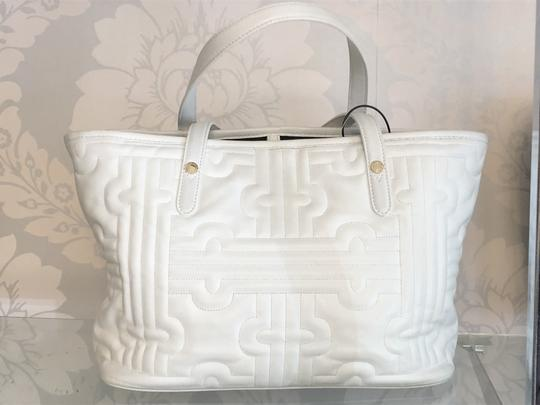 BVLGARI Leather Italy Quilted Satchel in White Image 1