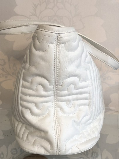 BVLGARI Leather Italy Quilted Satchel in White Image 3