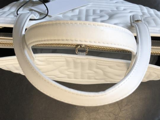 BVLGARI Leather Italy Quilted Satchel in White Image 5