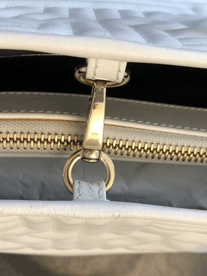 BVLGARI Leather Italy Quilted Satchel in White Image 6