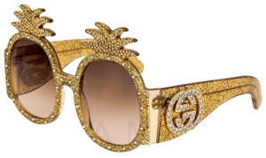 Gucci PINEAPPLE Crystal Stud Gold Glitter 0150 Runway Glam GG0150S