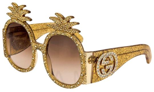Preload https://img-static.tradesy.com/item/26055422/gucci-gold-glitter-crystal-stud-pineapple-0150-runway-glam-gg0150s-sunglasses-0-2-540-540.jpg
