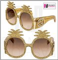 Gucci PINEAPPLE Crystal Stud Gold Glitter 0150 Runway Glam GG0150S Image 3