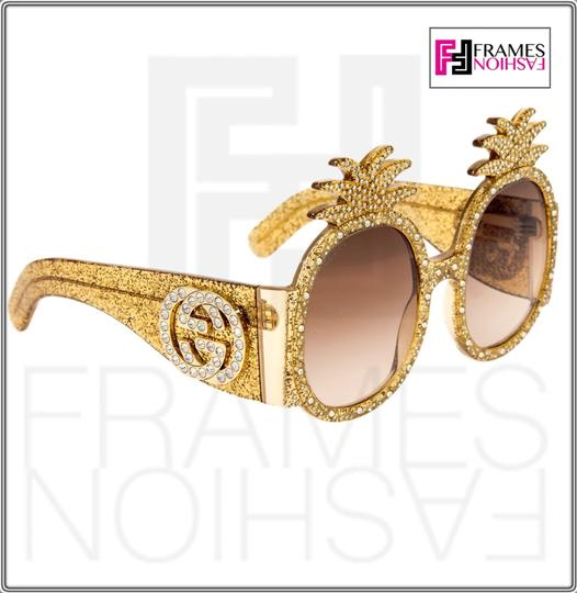 Gucci PINEAPPLE Crystal Stud Gold Glitter 0150 Runway Glam GG0150S Image 5