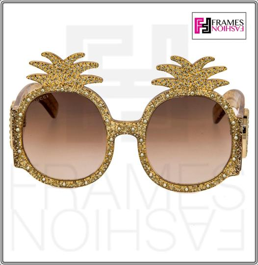 Gucci PINEAPPLE Crystal Stud Gold Glitter 0150 Runway Glam GG0150S Image 6