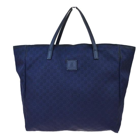 Preload https://img-static.tradesy.com/item/26055432/gucci-bag-gg-pattern-hand-navy-blue-nylon-leather-tote-0-0-540-540.jpg