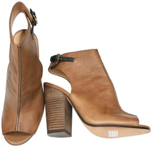 Coach Ankle Leather Mules Open Toe Brown Boots