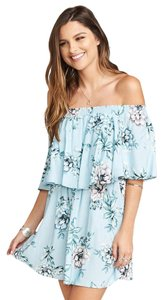 Show Me Your Mumu short dress Blue Floral Off The Shoulder Rayon Elastic on Tradesy