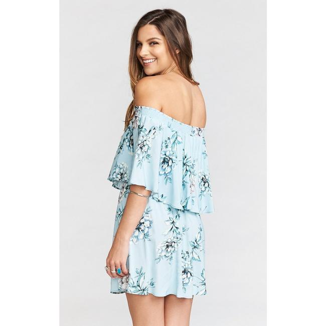 Show Me Your Mumu short dress Blue Floral Off The Shoulder Rayon Elastic on Tradesy Image 1