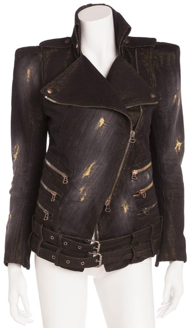 Preload https://img-static.tradesy.com/item/26055534/balmain-black-with-under-tone-gold-distressed-jacket-size-8-m-0-1-650-650.jpg
