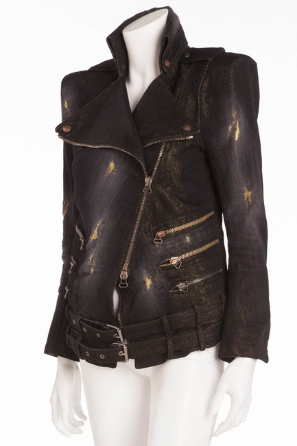 Balmain Vintage New Black with under tone gold Womens Jean Jacket Image 1