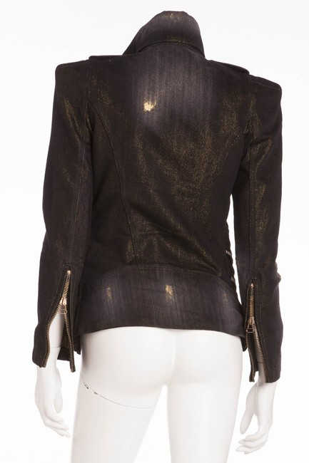 Balmain Vintage New Black with under tone gold Womens Jean Jacket Image 2