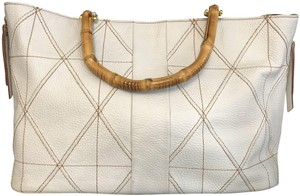 Plinio Visona Italy Leather Textured Animal Print Bamboo Satchel in Cream/Ivory