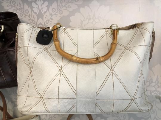 Plinio Visona Italy Leather Textured Animal Print Bamboo Satchel in Cream/Ivory Image 1