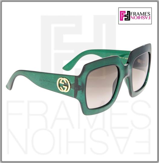 Gucci 0053 GG0053S Translucent Green Gold Glitter Oversized 3826 Image 2