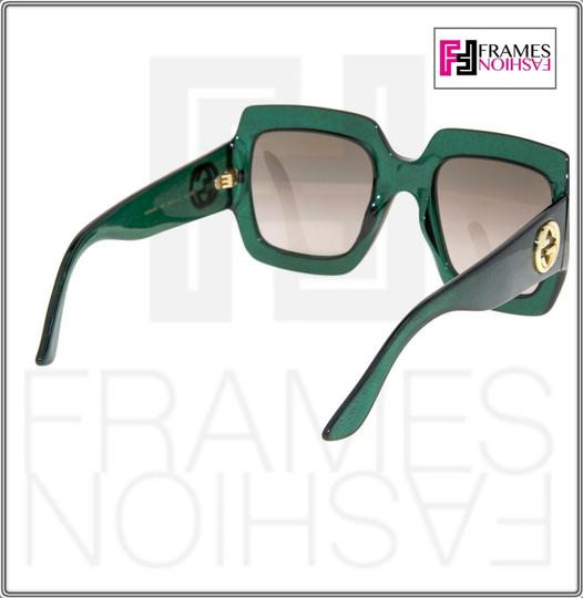 Gucci 0053 GG0053S Translucent Green Gold Glitter Oversized 3826 Image 3