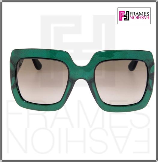 Gucci 0053 GG0053S Translucent Green Gold Glitter Oversized 3826 Image 4