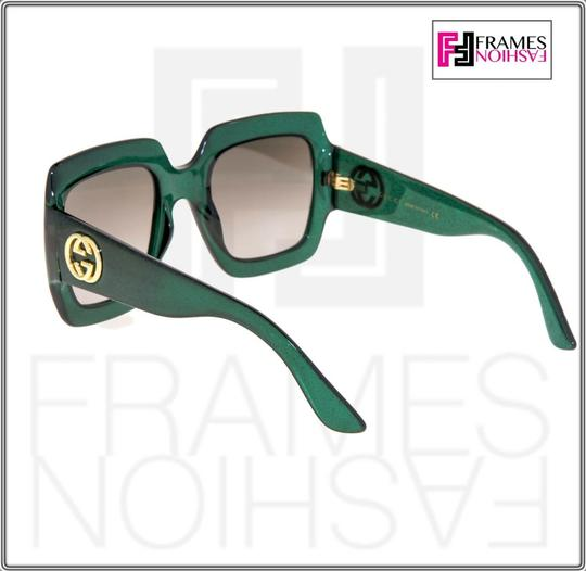 Gucci 0053 GG0053S Translucent Green Gold Glitter Oversized 3826 Image 5