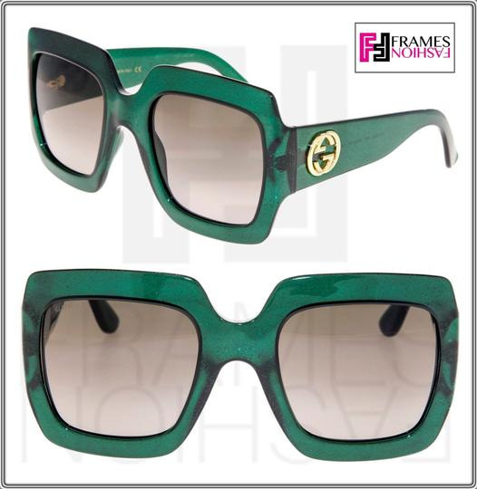 Gucci 0053 GG0053S Translucent Green Gold Glitter Oversized 3826 Image 6