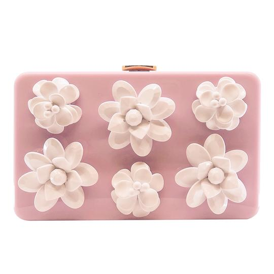 Prada Gucci Plastic Gold Flowers Pink Clutch Image 0