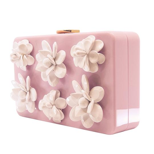 Prada Gucci Plastic Gold Flowers Pink Clutch Image 1