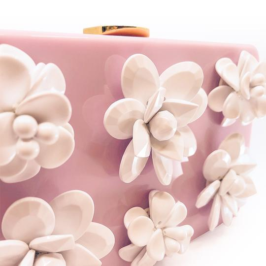 Prada Gucci Plastic Gold Flowers Pink Clutch Image 3