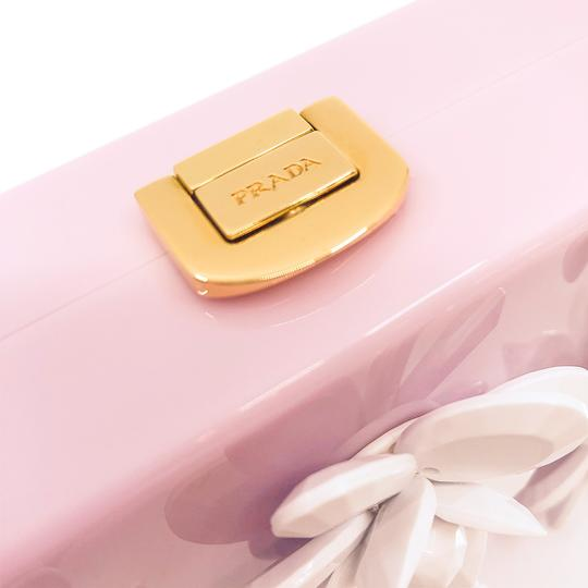 Prada Gucci Plastic Gold Flowers Pink Clutch Image 4