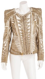 Balmain Rare Collectible Fringe Studded White, gold,crystals Leather Jacket