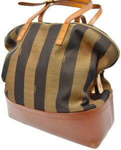 Fendi Penguin Stripe Canvas Leather Hobo Tote in Black & Brown