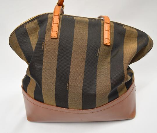 Fendi Penguin Stripe Canvas Leather Hobo Tote in Black & Brown Image 1