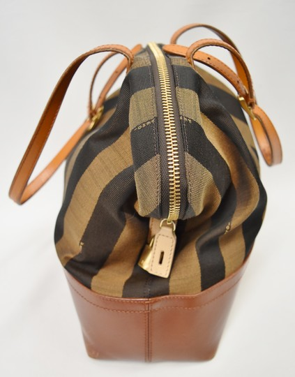Fendi Penguin Stripe Canvas Leather Hobo Tote in Black & Brown Image 2