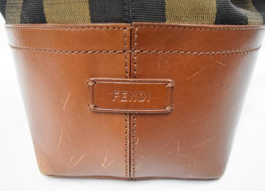 Fendi Penguin Stripe Canvas Leather Hobo Tote in Black & Brown Image 4