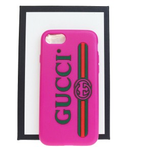 Gucci Authentic GUCCI Sherry iPhone 10 Cell Phone Case Leather Rubber Pink
