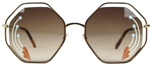 Chloe Poppy Gold Metal/Havana Large Octogon Sunglasses CHC18UECE132RI258