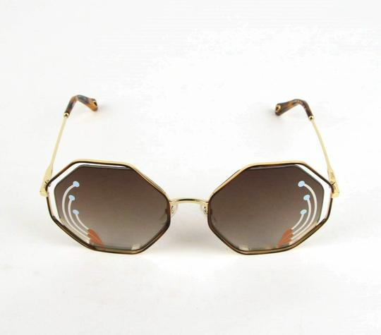 Chloe Poppy Gold Metal/Havana Large Octogon Sunglasses CHC18UECE132RI258 Image 1