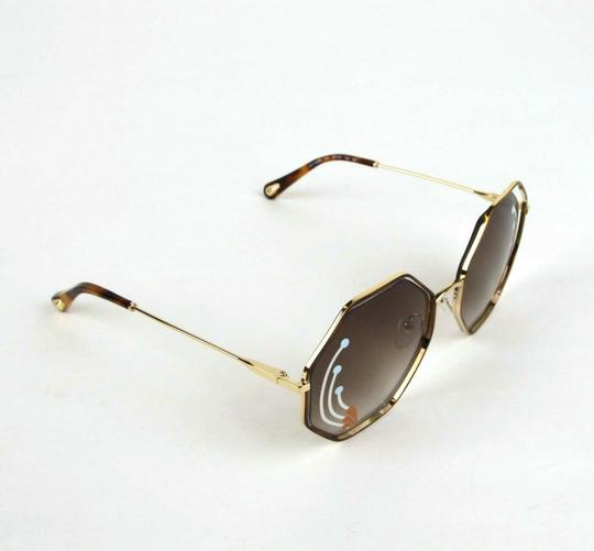 Chloe Poppy Gold Metal/Havana Large Octogon Sunglasses CHC18UECE132RI258 Image 2