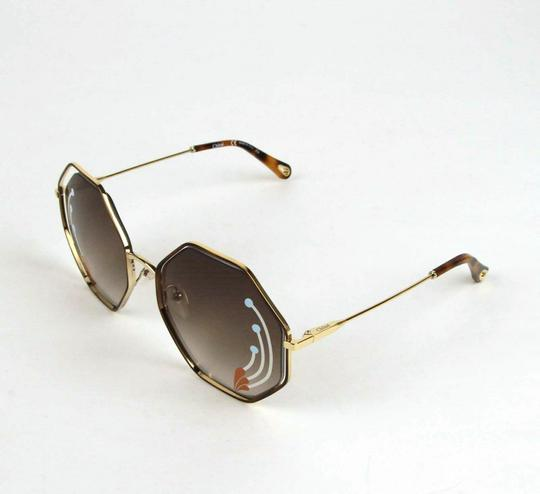 Chloe Poppy Gold Metal/Havana Large Octogon Sunglasses CHC18UECE132RI258 Image 3