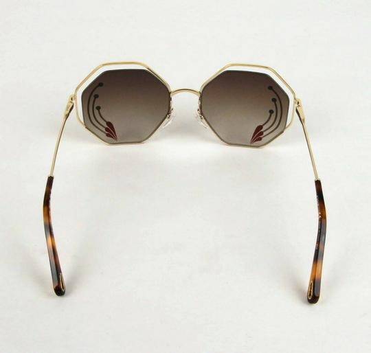 Chloe Poppy Gold Metal/Havana Large Octogon Sunglasses CHC18UECE132RI258 Image 4