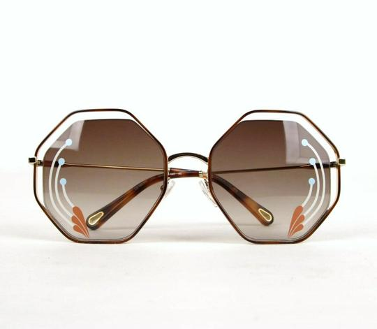 Chloe Poppy Gold Metal/Havana Large Octogon Sunglasses CHC18UECE132RI258 Image 9
