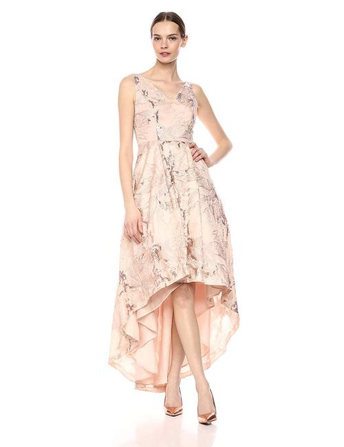 CALVIN KLEIN Gown Sequin High Low Special Ocassion Fit And Flare Dress Image 2