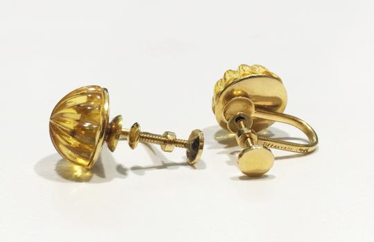 Tiffany & Co. Vintage Carved Citrine 18k Yellow Gold Earrings Image 1
