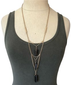Marlyn Schiff Marlyn Schiff Triple Layer Onyx Pendent Necklace